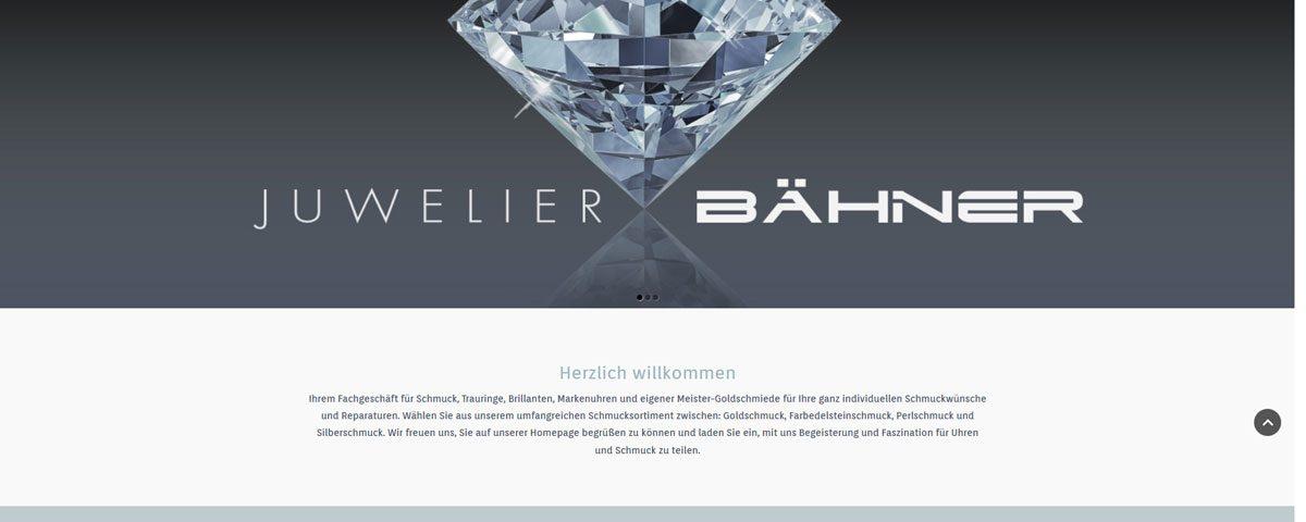 Screenshot der Startseite von Juwelier Bähner